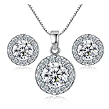 Newtrip New 925 sterling silver Crystal wedding necklace earring jewelry set charm women