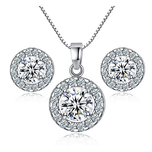 Bonlting Newtrip New 925 sterling silver Crystal wedding necklace earring jewelry set charm women (925 Necklace Set)