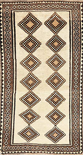 Vintage South-West Geometric Ivory Gabbeh Persian Area Rug Hand-Made Oriental Wool 3'X7' (6' 6'' X 3' 5'')