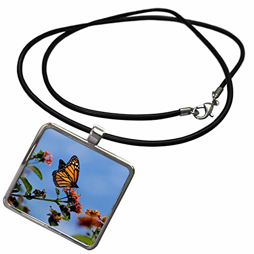3dRose Danita Delimont - Butterflies - USA, California. Monarch butterfly on lantana flower. - Necklace With Rectangle Pendant (ncl_278558_1) -