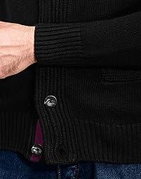 Vincenzo Boretti Men\'s Cardigan, chunky knit, with shawl collar, sl,black,Medium