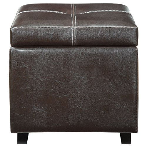 Modway Treasure Espresso Vinyl Storage Cube Ottoman (Leather Storage Footstool)