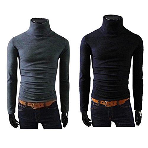 covermason Pull Manches Haut Fit Chandails Slim Casual Pulls Homme Homme À Col Longues Basique Coton Gris Roulé Sweater Sweatshirt Pullover OqX1541
