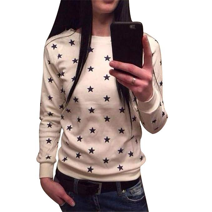 Sudaderas Estampadas Mujer Sudaderas de Chica Sudadera Oversize Tallas Grandes Juveniles Camisetas Basicas Manga Larga Cuello Redondo Mujer Anchas Jersey ...