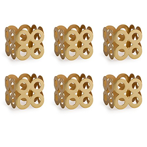 - DII Contemporary Chic Napkin Rings for Dinner Parties, Weddings Receptions, Family Gatherings, or Everyday Use, Set Your Table With Style - Die Cut Gold Square, Set of 6