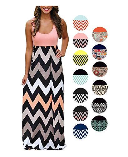 LIYOHON Womens Summer Striped Print Loose Maxi Dress Contrast Sleeveless Tank Top Floral Print Long Maxi Dresses for Women (Medium, Pink) (Chevron Dress Pink)