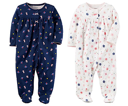 Front Footed Sleeper Snap (Carter's Set of 2 Baby Girls Cotton Footed Snap Front Sleeper Sleep and Play Pajamas (3 Months, Navy Blue and White Floral))