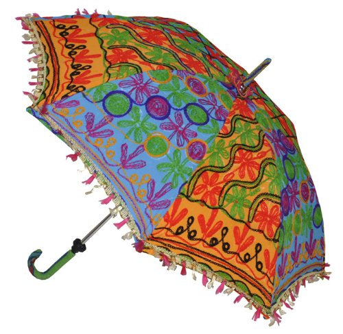 Indian Handmade Designer Cotton Fashion Multi Colored Umbrella Embroidery Boho Umbrellas Parasol 50 Pcs Lot by Rajasthali (Image #4)