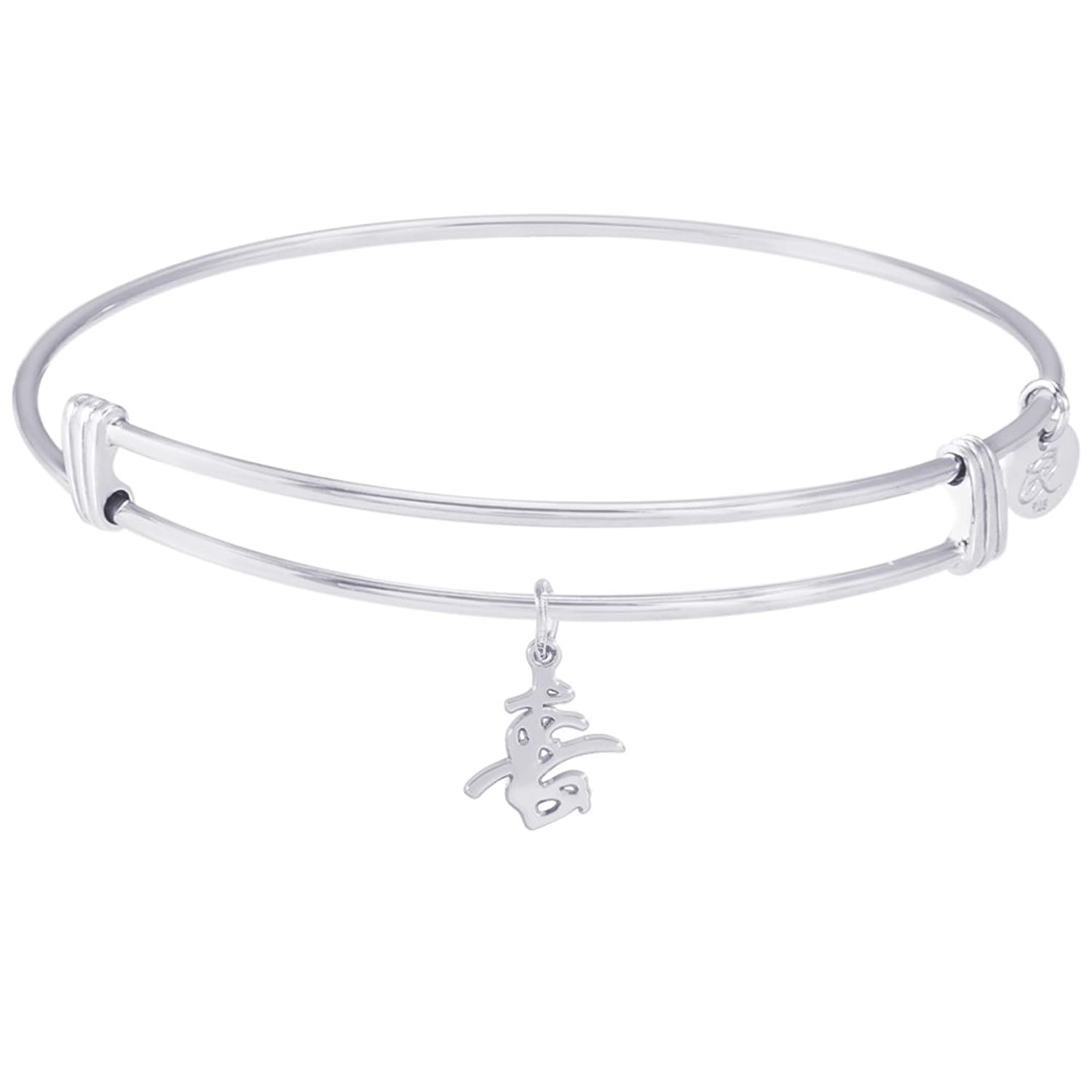 Rembrandt Happiness Symbol Charm Expandable Wire 'Noble' Bangle, Sterling Silver