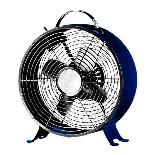 Blue Metal Fans (Stylish and Quiet Art Deco Retro Metal Desktop Fan with Two Speeds - by Cerebrum Shoppe (Navy Blue))