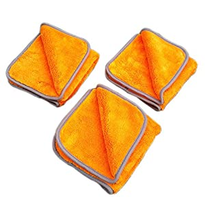 Super Plush Microfiber Auto Detailing Towel, 1200 GSM Professional 70/30 Blend, 16 in. x 16 in, Orange (3pack)