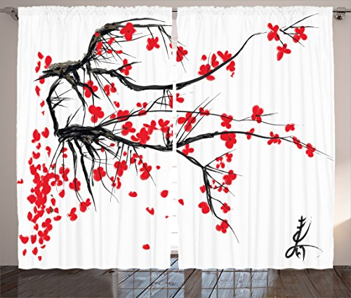 Japanese Curtains Decor by Ambesonne, Sakura Blossom Japanese Cherry Tree Summertime Vintage Cultural Artwork Theme, Living Room Bedroom Curtain 2 Panels Set, 108 X 90 Inches, Red Black
