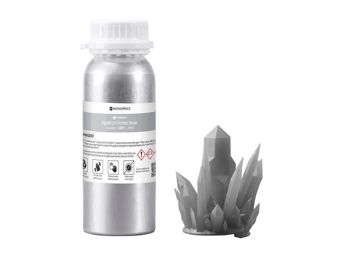 Monoprice Rapid UV 3D Printer Resin 250ml - Gray