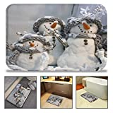 QiyI Bath Mat Rug Super Soft Non-Slip Machine Washable Quickly Drying Antibacterial,for Office Door Mat,Kitchen Dining Living Hallway Bathroom 16'' W x 24'' L (40 x 60 cm) -Scarf Snowman