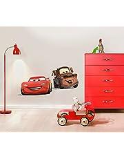 Komar - Disney - Deco-Sticker CARS FRIENDS - 50x70cm - Muurtattoo, Muurstickers, Muursticker, Muurschildering auto, raceauto, Lightning McQueen -14015h, Bruin / Rood