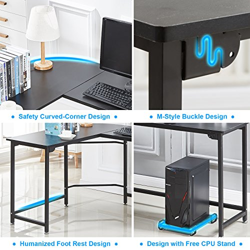 Hago Modern L Shaped Desk Corner Computer Desk Home Office Study  Workstation Wood U0026 Steel PC Laptop Gaming Table ()   PCPartPicker