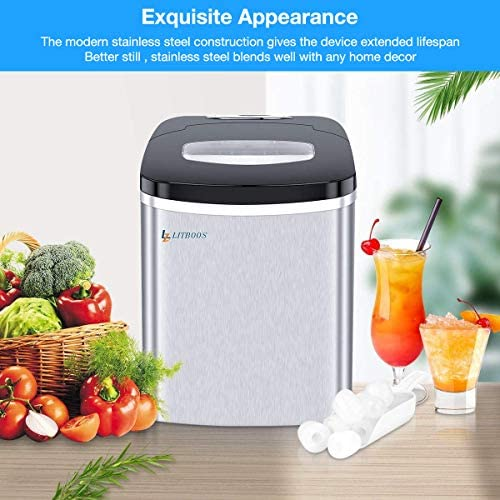 LITBOOS Portable Ice Makers Countertop,Stainless Steel Nugget Ice Maker Machine - 9 Bullet Ice Cube Makers in 7-9 Mins,26 lbs/24H Production, Mini ice maker for Home with Scoop and Basket-Silver