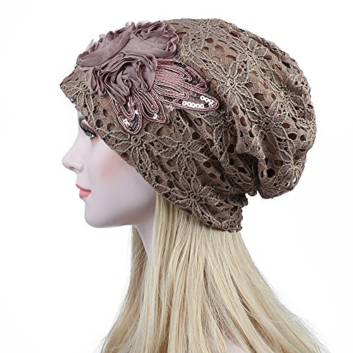 Joycentre Womens Lace Chemo Hats for Cancer Patients, Lace Flowers Fashion Hat (Camel) by Joycentre (Image #1)