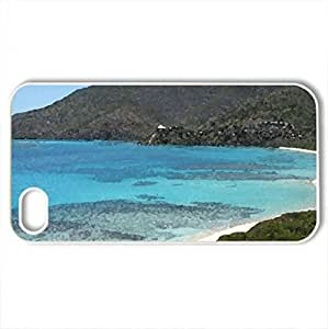 Beach front view - Case Cover for iPhone 4 and 4s (Beaches Series, Watercolor style, White)