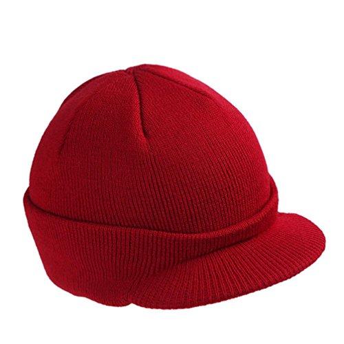 Voberry® Men's Stylish Knit Visor Brim Beanie Hats Knitted Skull Ski Caps (Red Beanie Visor)