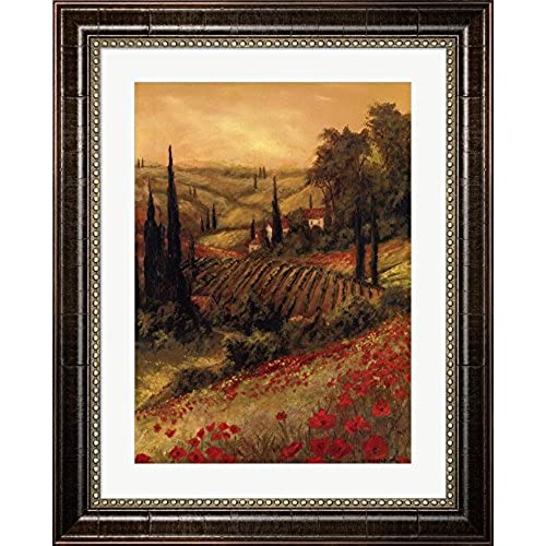 Toscano Valley I By Art Fronckowiak Framed Art Print Wall Picture, Walnut  Brown Frame With Hanging Cleat, 16 X 21 Inches