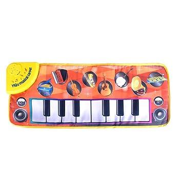 Isuper Juego de Piano tapete de Teclado Musical tapete de Juego de Teclado táctil Alfombra de Canto para bebé Modos de demostración para niños Piano ...
