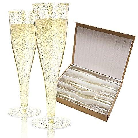 100 Plastic Champagne Flutes Disposable | Gold Glitter Plastic Champagne Glasses for Parties | Glitter Clear Plastic…