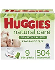 HUGGIES Natural Care Unscented Baby Wipes, Sensitive, 56 Count (Pack of 8)