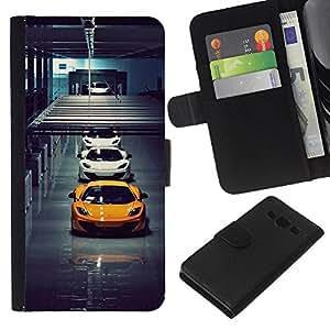 LECELL--Cuero de la tarjeta la carpeta del tirón Smartphone Slots Protección Holder For Samsung Galaxy A3 -- Italianos Sports Cars --