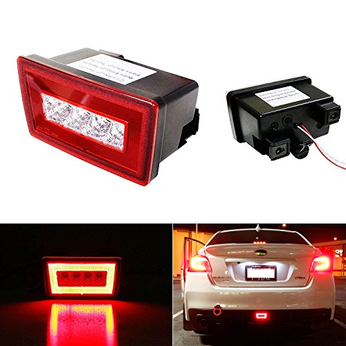 iJDMTOY Red Lens 3-In-1 LED Rear Fog Light Assembly Kit (Tail, Brake, Backup Reverse Light) For 2011-up Subaru Impreza WRX STI or VX Crosstrek (with Wire Harness & Mounting Bracket)