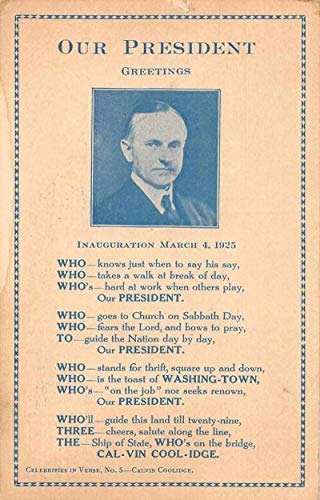 Patriotic Greetings President Calvin Coolidge Inauguration Postcard JC932386