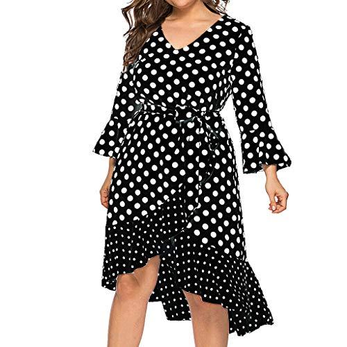 AmyDong Fashion Women's Plus Size Casual Dot Printed V-Neck Flare Sleeve Bandage Stitching Dress Black