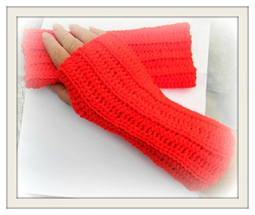 Crochet Red Fingerless Women's Winter Mittens Arm Warmer Winter Gloves Women's Gift Ideas