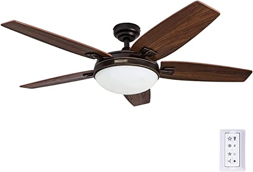 Honeywell Carmel 48-Inch Ceiling Fan with Integrated Light Kit and Remote Control, Five Reversible Cimarron/Ironwood Blades, Bronze