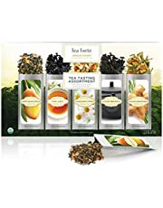 Tea Forte Organic Classic Tea Sampler, Single Steeps Loose Leaf Tea Gift Box Variety Pack of 15 Single Serve Pouches with Green Tea, Herbal Tea and Black Tea