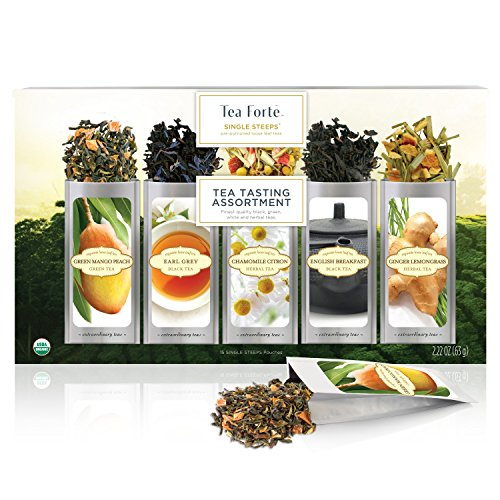 Tea Forte Single Steeps Tea Tasting Assortment Organic Loose Leaf Tea Sampler, Tea Variety Pack, 15 Single Serve Pouches, Green Tea, Herbal Tea, Black Tea (Tea Forte Herbal Tea Chest)