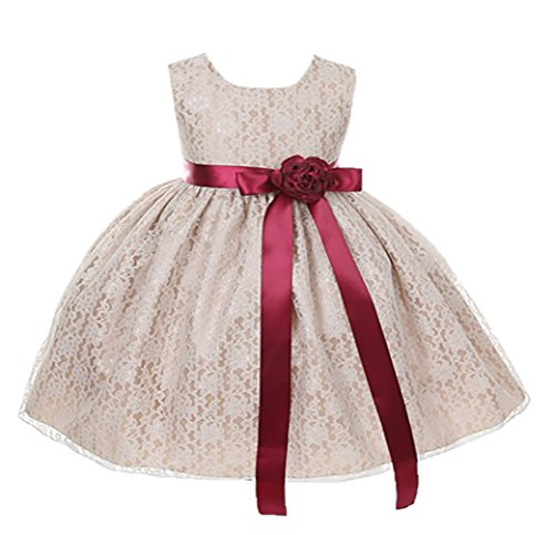 Cinderella Couture Baby-Girls Champagne Lace Dress Burg Sash
