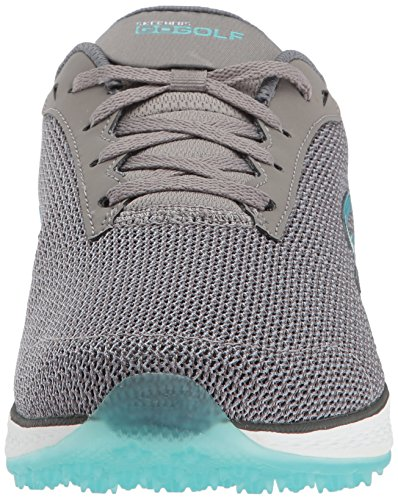 Twinkle Toes by Skechers Skechers Performance Womens Go Golf Birdie Wide Golf Shoe, Charcoal/Blue Mesh, 8.5 W US