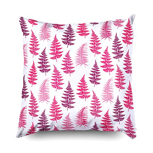 Kid Pillow Covers,Shorping Zippered Covers Pillowcases 20x20 Pillowcase Throw Pillow Covers Fern frond herbs tropical forest plant leaves seamless vector wallpaper Minimal herbal pattern Brack for Hom ()