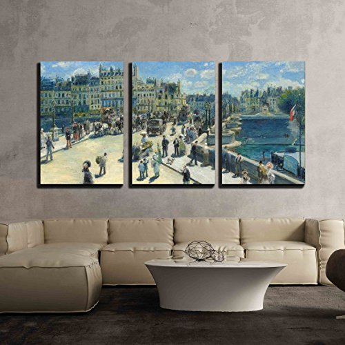 wall26 - 3 Piece Canvas Wall Art - Pont Neuf, Paris by Pierre-Auguste Renoir - Modern Home Decor Stretched and Framed Ready to Hang - 24