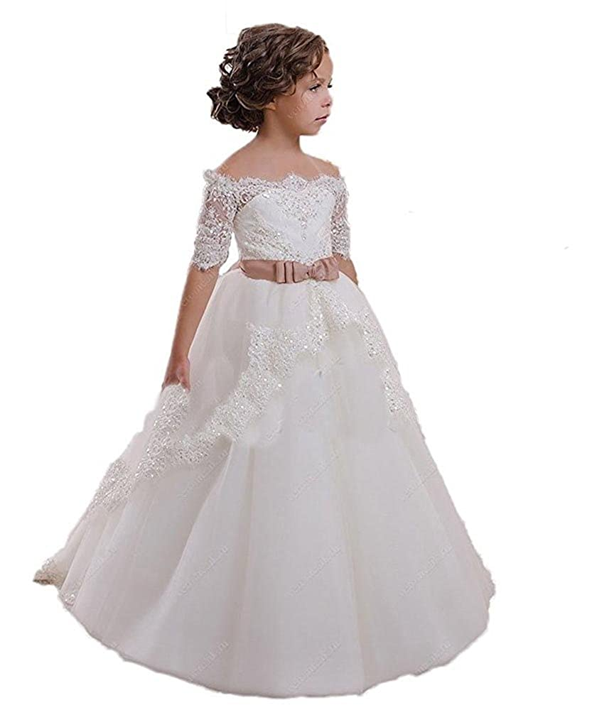 Amazon.com: CoCoBridal Lace Flower Girls Dresses Girls First ...