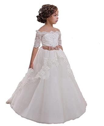 CoCoBridal Lace Flower Girls Dresses Girls First Communion Dress Princess  Wedding (2T 23dcceb547be
