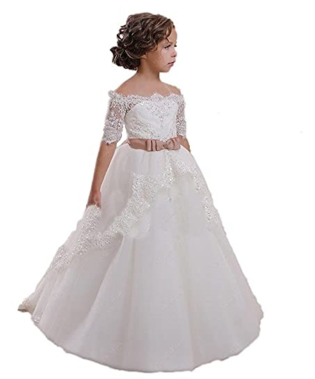 cocobridal lace flower girls dresses girls first communion dress princess wedding 2t ivory