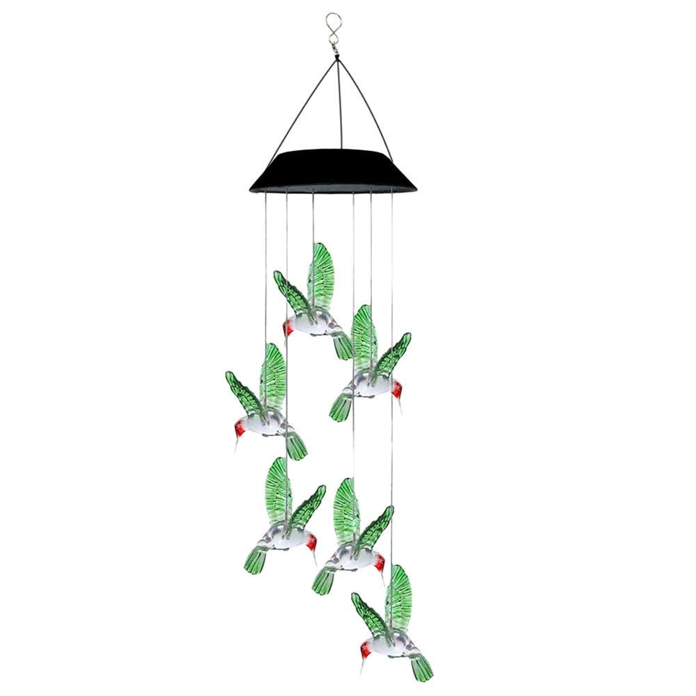 WinnerEco Solar LED Hummingbird Wind Chime Light Outdoor Color Changing Hanging Lamp