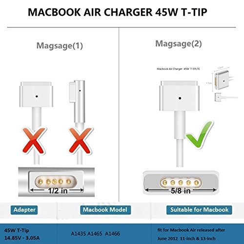 MacBook Air Charger,Replacement 45W Magsafe 2 Power Adapter T-Tip Magnetic Connector Charger for MacBook Air 11 inch and 13 inch (45T) by SunStrider (Image #1)