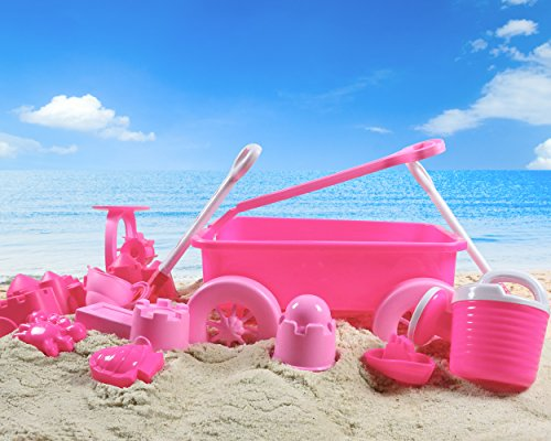 Liberty Imports Pink Princess Beach Wagon Toy Set for Kids with Castle Molds, Sand Wheel, Water Pail, Play Tools and Featured Molds (14 Pcs (Wagon Girl)