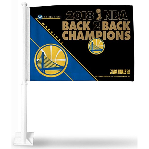 - Rico Industries NBA Golden State Warriors 2018 Basketball Champions Car Flag, with White Pole