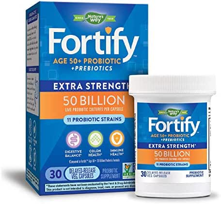 Nature's Way Primadophilus Fortify Age 50+ Extra Strength Probiotic, Colon Health Formula, 50 Billion Active Cultures, Guaranteed Potency, Researched Strains, Delayed Release, Gluten-Free, 30 Capsules