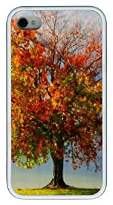 iPhone 4S Cases Autumn Red Tree Illustration TPU Soft Back Case Cover for iPhone 4S and iPhone 4 - White