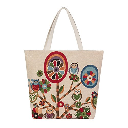 de Lona mujeres bolsos moda bolsa buho Multicolor2 bolso de Crossbody mensajero Pintura Luckywe Diseñador wqfg55I